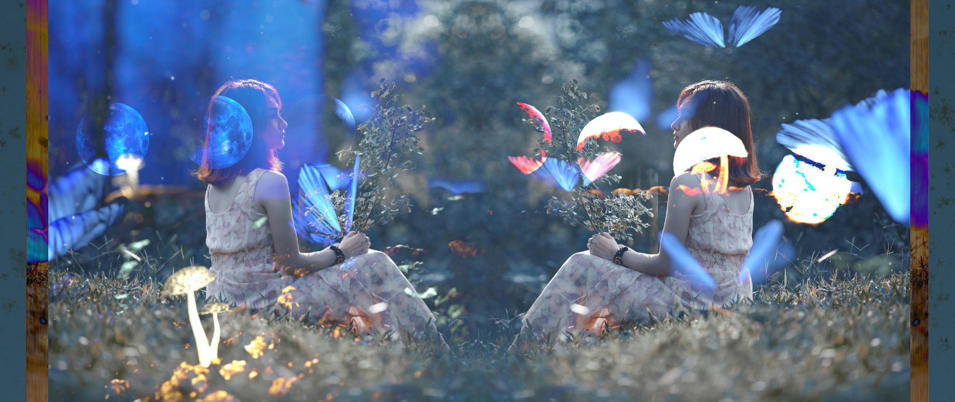 Forest with Two Women, Full Moons and Blue Butterflies exploring Plant Medicine and Intuition